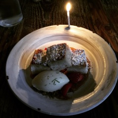 Toasted angel food cake, elderflower ice cream, lime praline at Octavia. Still drooling about this.