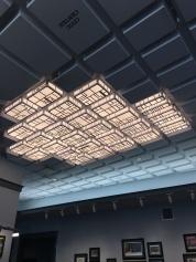 The awesome ceiling lights depicting the Tenderloin neighborhood in the Tenderloin museum.