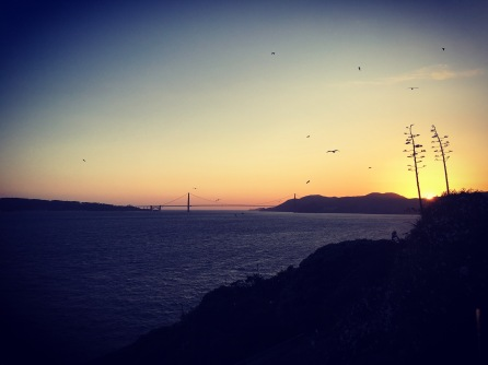 A shot of the Golden Gate from Alcatraz with Ricky. I love this city.