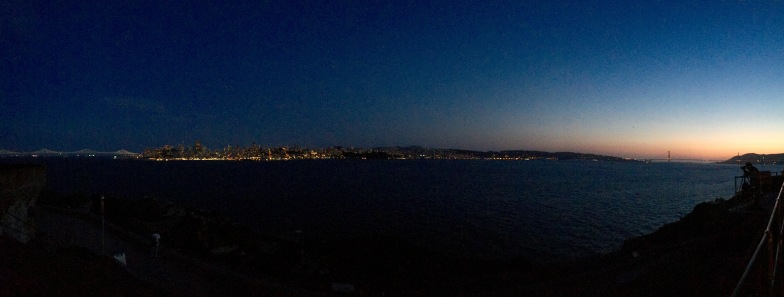 SF at sunset, taken from Alcatraz Island.