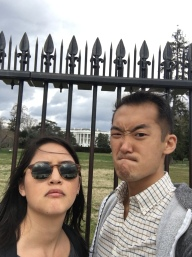 Grimacing at the White House with Bekah.
